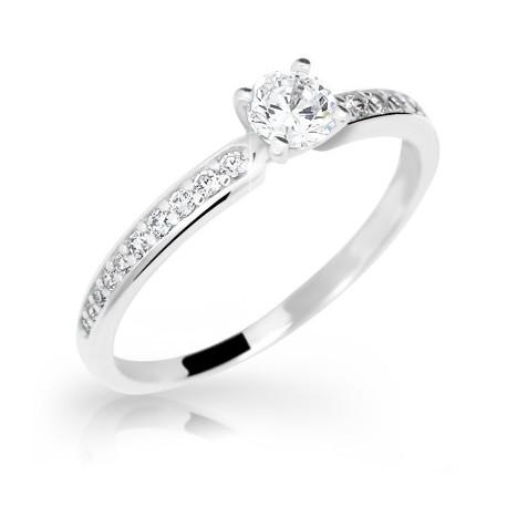 DANFIL DF2523 zásnubný prsteň s diamantmi - biele zlato e62e2cfa513